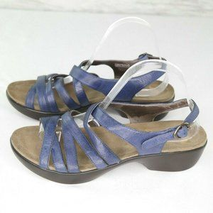 Dansko Strappy Sandals Sz 41 Blue Leather Shoes